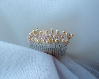 Wedding Bridal Hair Comb in Ivory and Blush Pink. Ready to ship.