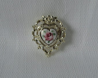 Vintage Gold tone with Guilloche  Rose Heart Brooch