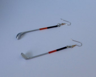 Golf Club Earrings. Choice of Post or Hook. 2 colors.