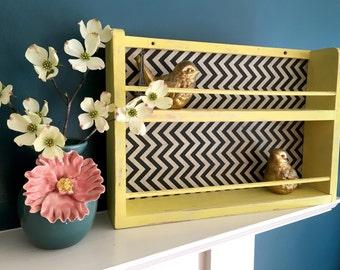 Yellow Chevron Wall Organizer Shelf