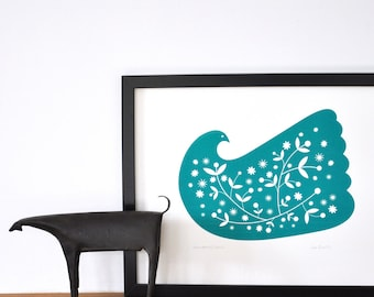 Snowberry Dove Screen Print,  Hand printed by me In Deep Turquoise.