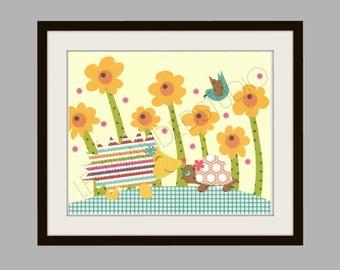 FREE SHIPPING- Nursery Art Print,  Hedgehog, Turtle and Bird, Children's Art Print, Kids Room Decor, 8x10 Art Print, Personalized