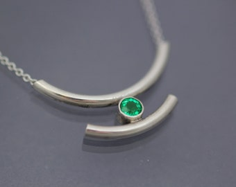 Handmade Emerald Pendant 4mm Round Sterling Silver Modern Necklace
