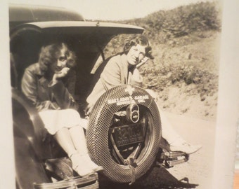 Vintage Photo girlfriends posing on the back of an old car roadtrip girlfriends BFFs 1930s Monmouth Oregon advertising americana history