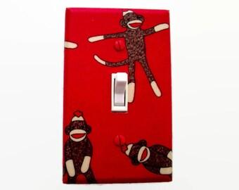 Monkeys Light Switch Cover - Sock Monkey Light Switch Plate - Red Sock Monkeys Decor - Childrens Room Decor - Monkey Switchplate