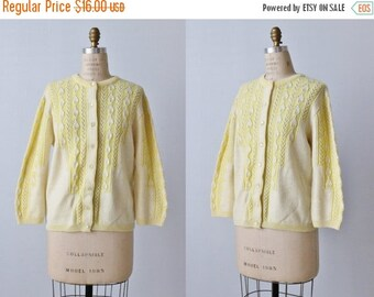 On SALE Yellow Cardigan Sweater / Button Down Sweater / Cable Knit Sweater / Sweater Bee