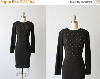 On SALE Bodycon Black Dress / Black Knit Dress / 1980s Sweater Dress /  Knit Sweater Dress