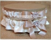 Skirted Satin Bridal Garter SET Rhinestone Accents....You Choose The Colors..Shown in ivory/champagne