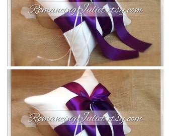 Romantic Satin Ring Bearer Pillow...You Choose the Colors...SET OF 2...shown in ivory/eggplant purple