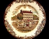 Set/4 JOHNSON Brothers DINNER PLATES Heritage Hall Brown Transferware Ironstone England #4411