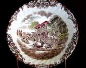 "Johnson Brothers ROUND VEGETABLE BOWL Heritage Hall 8"" Brown Transferware English Vintage Ironstone"