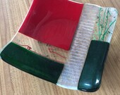 Christmas Fused Glass Serving Dish / Candle Holder
