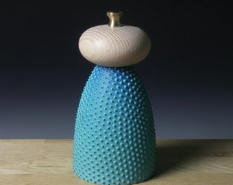 Turquoise and Limed Ash Pepper Mill