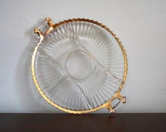 Gold Rimmed Glass Vegetable Platter