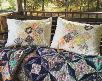 Quilted Granny Square pillow sham in Sweet As Honey fabrics, home decor, bedding, granny chic, brown peach green and gray
