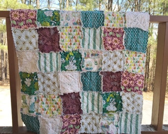 Baby Quilt Girl, Crib or Toddler, Rag Quilt, YOU CHOOSE SIZE, Succulents fabrics, plum, blue green, comfy cozy handmade bedding