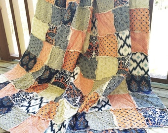 Rag Quilt, YOU CHOOSE SIZE, Botanique fabrics, navy blue orange and sage green, comfy cozy handmade bedding, king queen full twin