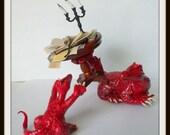 dollhouse miniature dragon Mother dragon baby set witch OOAK