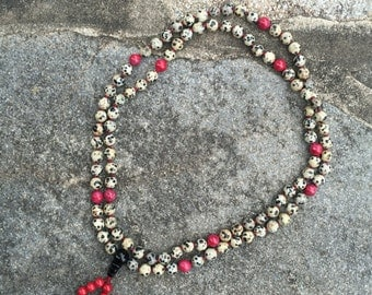 Dalmatian Jasper 108 Bead Mala Necklace