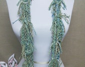 GladRagz Circle of Chains Necklace Scarf in Dusty Green, Azure Blue, Tan Cotton Fringe Ready to Ship Knotted Scarf Infinity Circle Scarf
