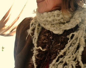 hand knit soft art yarn curls scarf - all natural warmth scarf