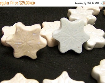 CLOSING SALE White and Pale Blue Snowflake Handmade Ploymer Beads