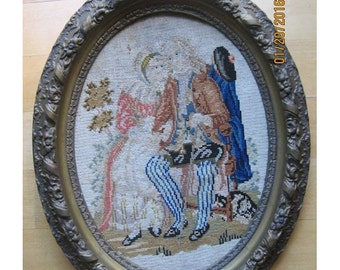 Surprise SALE - Antique Needlepoint Tapestry English Framed