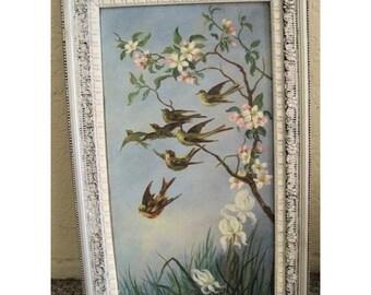 Surprise SALE - Antique Painting Birds Oil Victorian Folk Art