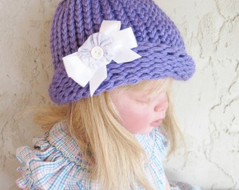 Child's Purple Cloche  Hat  1 to 5 Years Size Ready to Ship