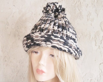 Adult Hand Knit Hat  Brown, Black Cream Combination Colors Ready to Ship