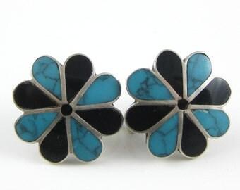 Vintage Turquoise Black Onyx Taxco Sterling Silver Clip on Earrings - Hallmark JA