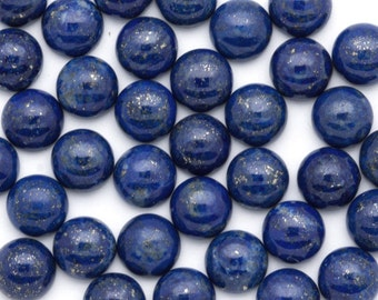 TWO Gorgeous Blue Lapis Lazuli  Cabochon - 8mm