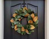 Realistic Magnolia Wreath, Faux Magnolia Wreath, Magnolia Leaf Wreath, Wreath Magnolia Leaves, Year Round Magnolia, Year Round Wreath