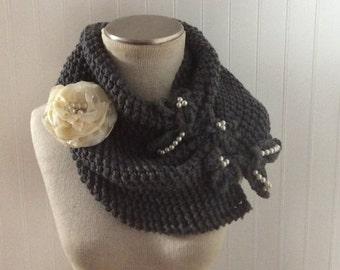 Scarves, Neckwarmer, Scarf, Knit scarf, cowl scarf, soft scarf, warm scarf, gift for her, women scarf, flower, infinity scarf, accessories