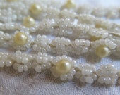 """Vintage Bead Trim Remnants with Glass Seed Beads and Faux Pearl Flowers Total 66"""""""