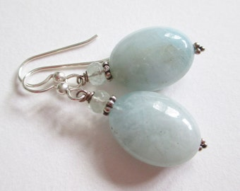 Aquamarine earrings, march birthstone, sky blue earrings, beach earrings