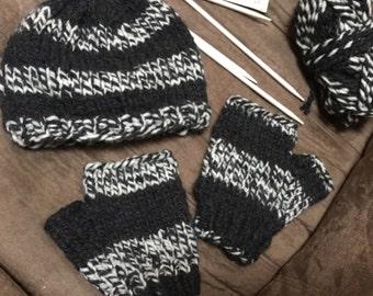 Men's Cap/Scarf/Fingerless Gloves Set