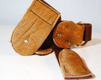 Leather Guitar Strap with Fur Ends