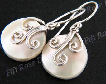 """5/8"""" Iridescent Abalone Shell 925 Silver Earrings"""