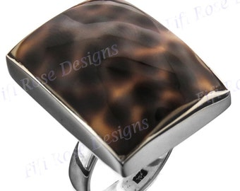 Square Tiger Cowry 925 Sterling Silver Adjustable Sz 8 Ring