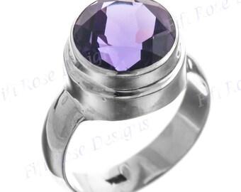 Big 4.5ct Purple Amethyst 925 Sterling Silver Sz 7 Ring