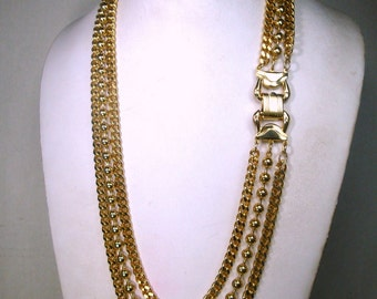 Classic Multiple Chain Necklace, 2 Shiny Gold  ID Chains and One Large Gold Ball Chain, Hinged Clasp, Sample 1990s