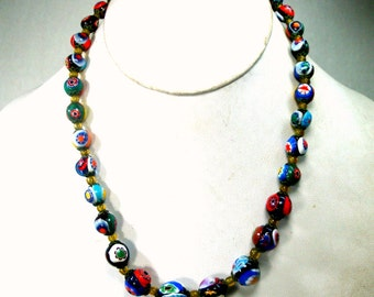 Vintage Millefiore Venetian Necklace, 1960s, Graduated Round Beads, Colorful Murano Italian Glass, 1000 Flowers