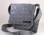 "HIP BAG. ""Dove Grey"" bag.  Fabric Bag. Small cross body bag. Travel bag. Cruise bag. Bag with long strap. Made in USA."