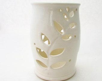 Handmade Pottery Candle Lantern // Luminary // Candleholder in Creamy White