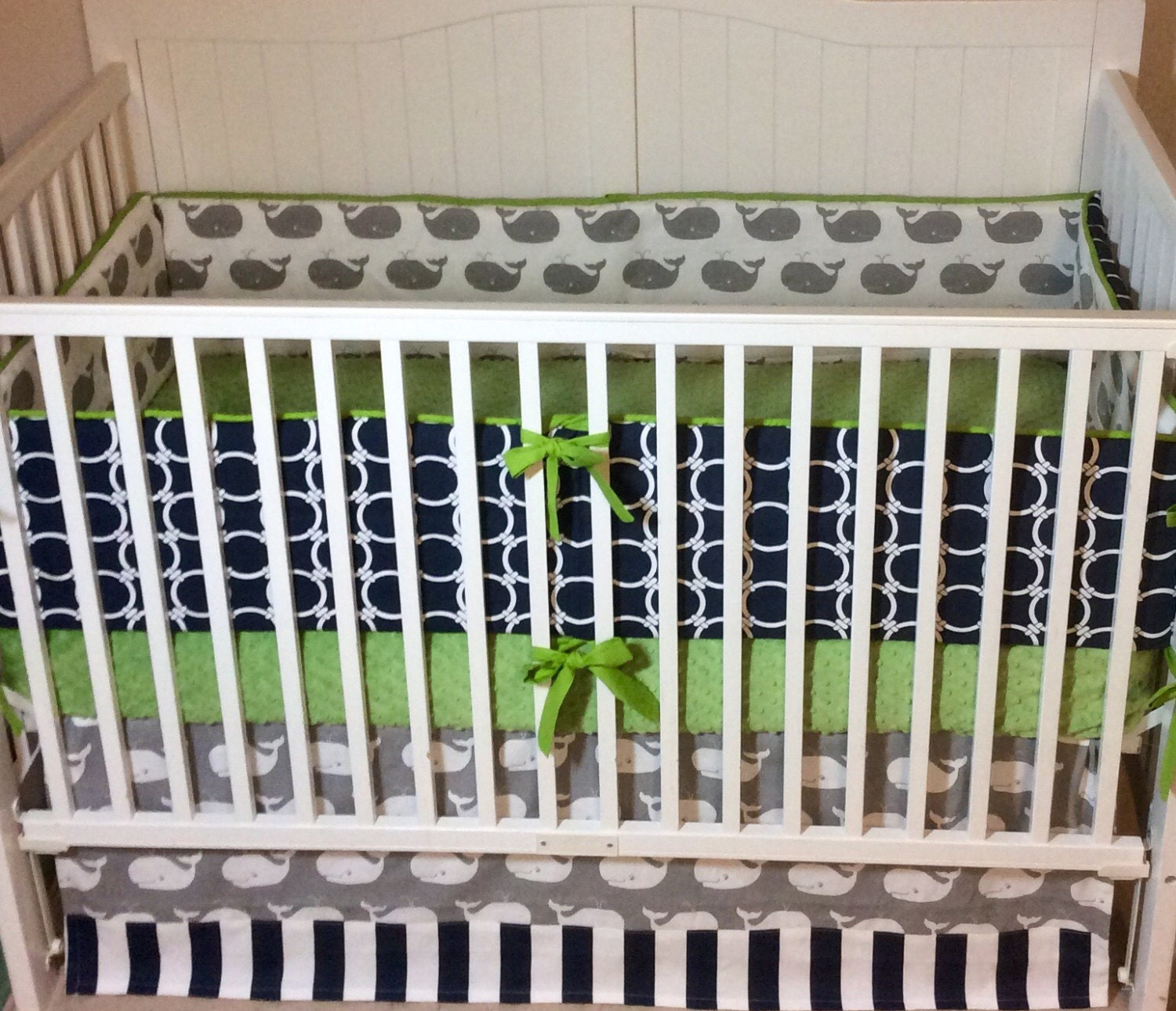 Crib bedding set gray white navy blue with by butterbeansboutique - Baby Boy Crib Bedding Set Navy Blue Lime By Butterbeansboutique