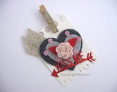 Felt Heart Red Rose Kiss Me Clip On Gift Tag~Gift Topper~pretty packaging~pink~champagne gold~cherry red~Love gift tags