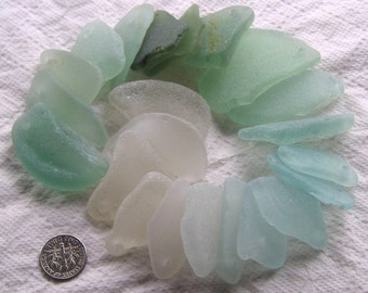 22 Sea Glass Shards Large Beach String Dangles Top Drilled 3mm holes Imperfections Craft Supplies (1766)