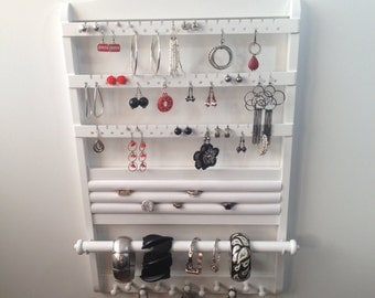 Jewelry Holder White Jewelry Organizer, Earring Display, 21 x 14, Deluxe Ring Display, Bracelet Storage Necklace Rack, Oak Hardwood