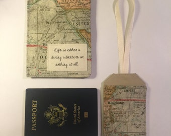 "Passport Cover and Luggage Tag Set,  life is either a daring adventure or nothing at all"", family passport case"